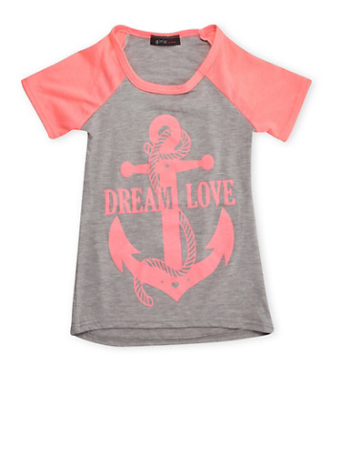 Girls 4-6x Raglan T-Shirt with Anchor Graphic,HGRY/NPNK,large
