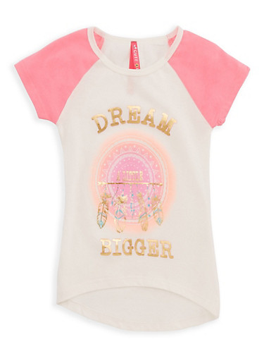 Girls 4-6x Dream A Little Bigger Graphic Raglan T Shirt,PINK,large