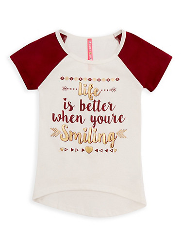 Girls 4-6x Life is Better Graphic Raglan Top,WINE,large