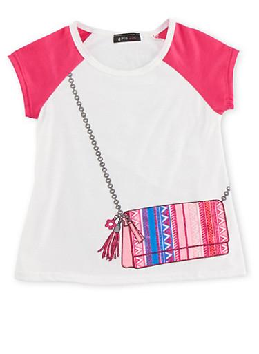 Girls 4-6x Raglan T-Shirt with Crossbody Bag Graphic,FUCHSIA,large