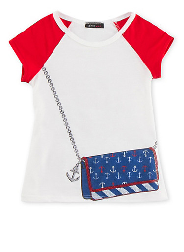 Girls 4-6x Raglan T-Shirt with Crossbody Bag Graphic,RED,large