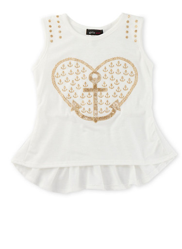 Girls 4-6x Tank Top with Heart Anchor Graphic and Peplum Hem,IVORY,large
