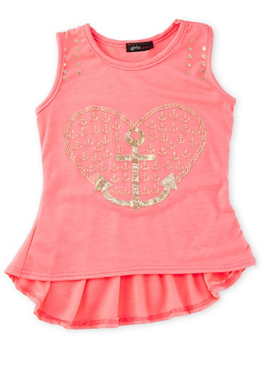 Girls 4-6x Tank Top with Foil Heart Anchor Graphic,NEON PINK,large