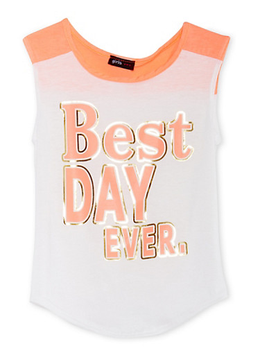 Girls 7-16 Color Block Tank Top with Best Day Ever Graphic,IVY/NCORL,large