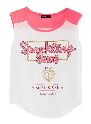 Girls 7-16 Tank Top with Sparkling Stars Glitter Graphic,IVY/NPNK,large