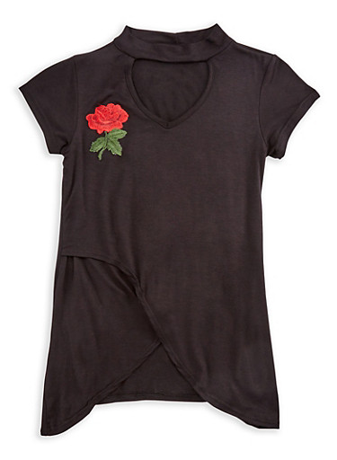 Girls 7-16 Mock Neck Top with Flower Patch,BLACK,large