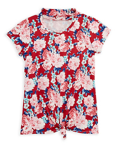 Girls 7-16 Floral Keyhole Top,BURGUNDY,large