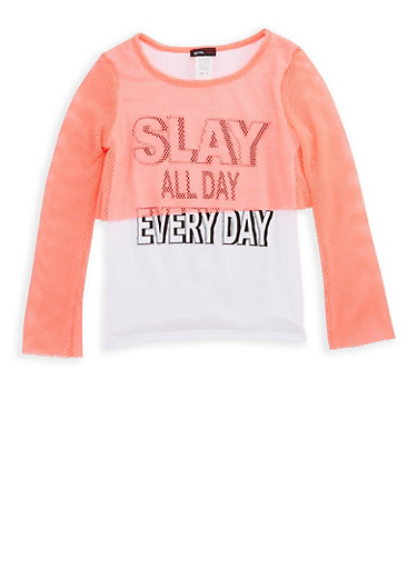 Girls 7-16 Slay All Day Everyday Mesh Overlay Graphic Top,NEON PINK,large