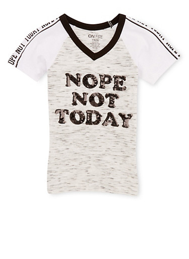 Girls 7-16 Not Today Graphic Sequin T Shirt,OATMEAL,large