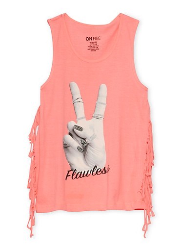 Girls 7-16 Flawless Graphic Fringe Tank Top,NEON PINK,large