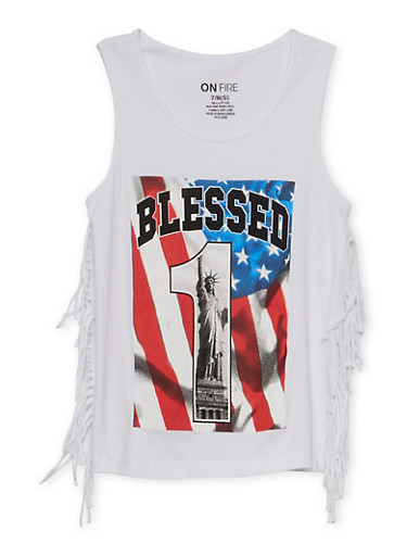 Girls 7-16 Blessed Graphic Fringe Tank Top,WHITE,large