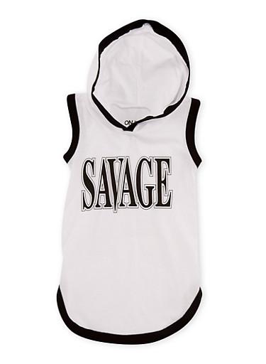 Girls 7-16 Savage Graphic Hooded Tank Top,WHITE,large