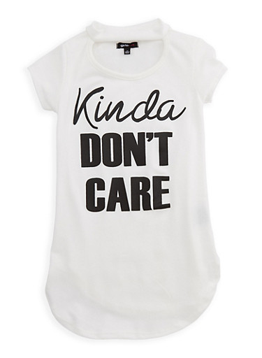 Girls 7-16 Short Sleeve Kinda Dont Care Graphic Top at Rainbow Shops in Jacksonville, FL | Tuggl