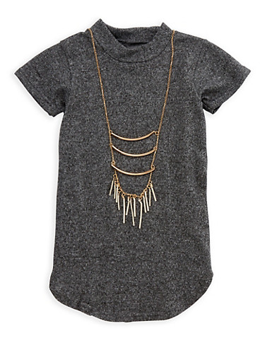 Girls 6x-16 Mock Neck Top with Necklace,CHARCOAL,large