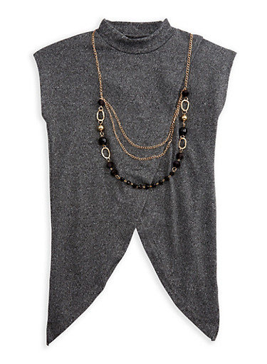 Girls 7-16 Short Sleeve Cross Over Top with Detachable Necklace,CHARCOAL,large