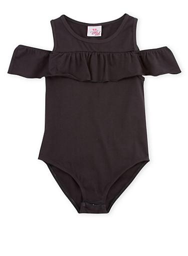 Girls 7-16 Ruffled Bodysuit,BLACK,large