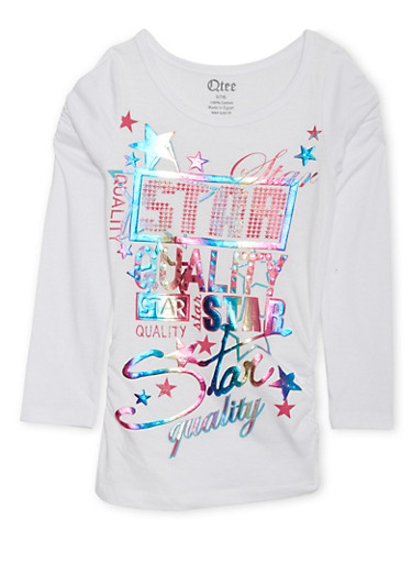 Girls 7-16 Ruched Top with Star Quality Graphic,WHITE,large