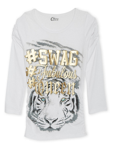 Girls 7-16 Long Sleeve Top with Tiger Print,WHITE,large