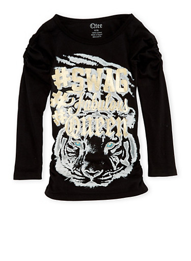 Girls 7-16 Long Sleeve Top with Tiger Queen Graphic,BLACK,large
