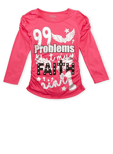 Girls 7-16 Long Sleeve Top with 99 Problems Graphic,PINK,large