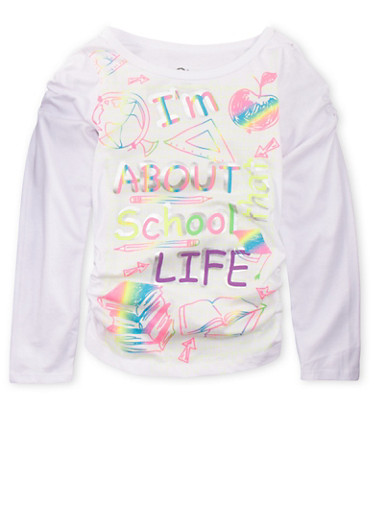 Girls 7-16 Long Sleeve Top with School Life Graphic,WHITE,large