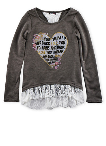 Girls 7-16 Heart Graphic Top with Lace Trim,CHARCOAL,large