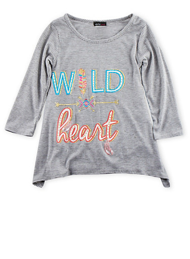 Girls 7-16 Knit Top with Wild Heart Graphic and Handkerchief Hem,IVORY,large