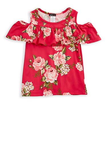 Girls 7-16 Cold Shoulder Ruffled Floral Print Top,PINK,large