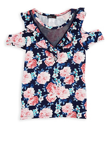 Girls 7-16 Cold Shoulder Ruffled Top with Mesh Insert,NAVY,large