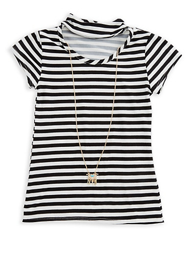 Girls 7-16 Striped Top with Attached Necklace,BLACK,large