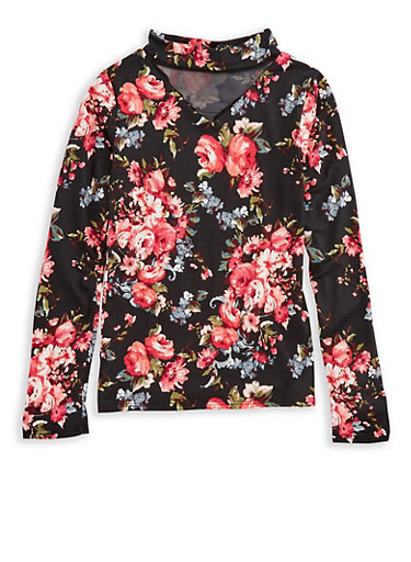 Girls 7-16 Floral Mock Neck Top,ROSE,large