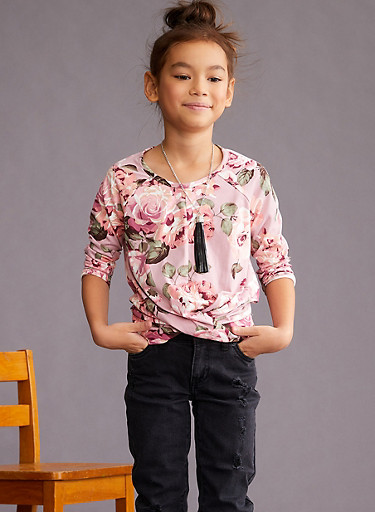 Girls 7-16 Floral Twist Front Top,ROSE,large