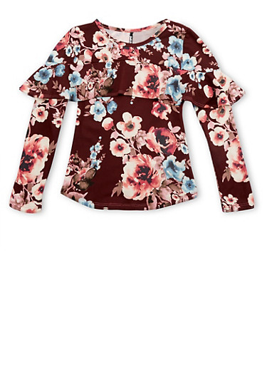 Girls 7-16 Burgundy Floral Ruffled Top at Rainbow Shops in Jacksonville, FL | Tuggl
