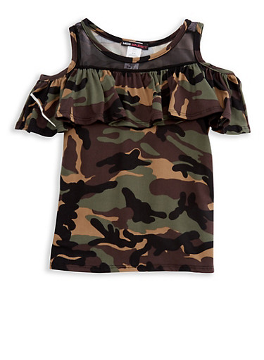 Girls 7-16 Camouflage Ruffled Cold Shoulder Top with Mesh Neckline Insert
