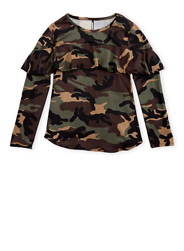 Girls 7-16 Camo Ruffled Long Sleeve Top at Rainbow Shops in Jacksonville, FL | Tuggl