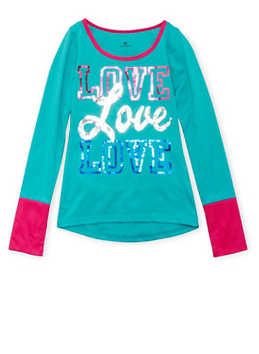 Girls 7-16 Top with Sequined Love Graphic,JADE,large