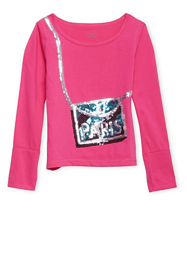 Girls 7-16 Long Sleeve Shirt with Sequin Crossbody Bag Design,PINK,large
