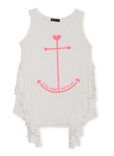 Girls 7-16 Tank top with Fringe Trim and Anchor Graphic,IVORY,large