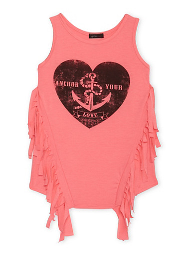 Girls 7-16 Tunic Top with Fringe Trim and Anchor Your Love Graphic,NPNK,large