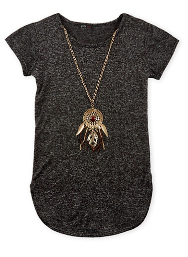 Girls 7-16 Marled Knit Tunic Top with Necklace,CHARCOAL,large