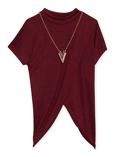 Girls 7-16 Marled Tulip Top with Removable Necklace,BURGUNDY,large