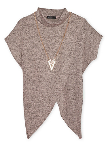 Girls 7-16 Marled Tulip Top with Removable Necklace,ROSE,large