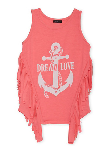 Girls 7-16 Tunic Top with Fringe Trim and Dream Love Graphic,NPNK,large