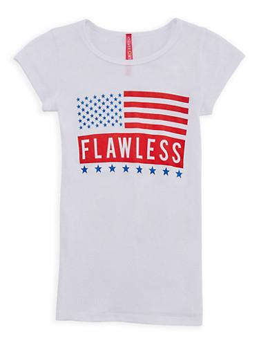Girls 7-16 Flawless Americana Graphic T Shirt,WHITE,large