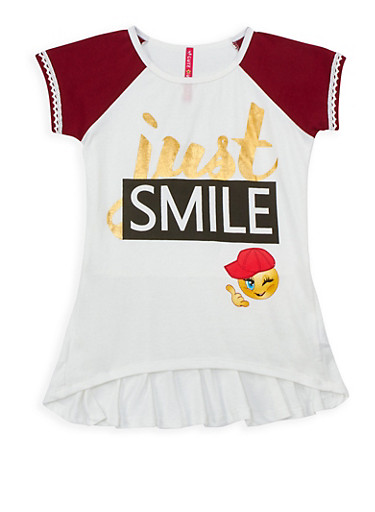 Girls 7-16 Just Smile Graphic High Low Top,WINE,large