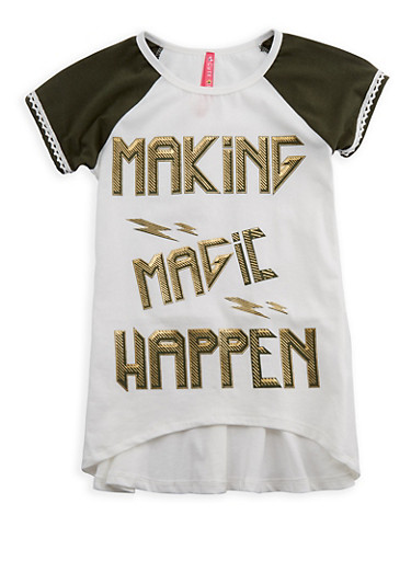 Girls 7-16 Making Magic Happen Graphic Top,OLIVE,large