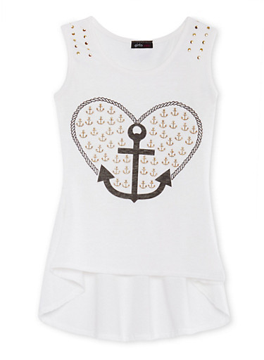 Girls 7-16 Tunic Top with Glitter Accents at the Anchor Heart Graphic,IVORY,large
