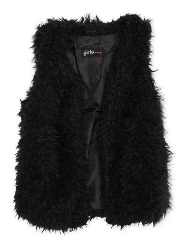 Girls 4-6x Faux Shearling Vest,BLACK,large
