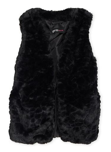 Girls 4-6x Faux Fur Vest with Open Front,BLACK,large
