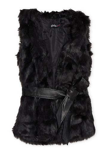 Girls 4-6x Faux Fur Vest with Faux Leather Waist Belt,BLACK,large